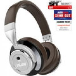 InLine PURE I, Bluetooth Over Ear Kopfhörer mit Active Noise Cancelling (ANC) braun-silber